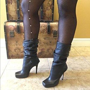 Aldo Black Mid Calf Leather Stiletto Boot Sz 8.5